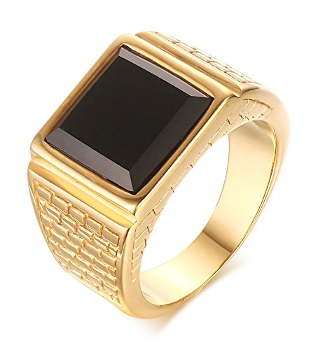 VNOX Stainless Steel Black Square Agate Signet Band Ring for Men Wedding Engagement,Gold Plated,Size 9