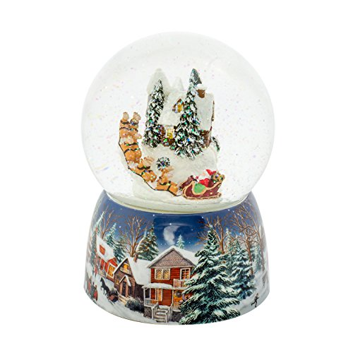 Roman Holiday Village House Musical Snow Globe Water Dome with Rotating Santa Claus in Sleigh Plays Up on the Roof, 6.75