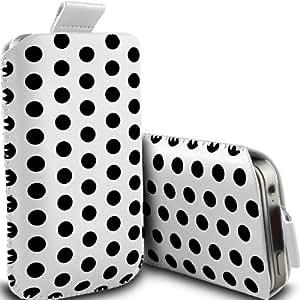 Nokia Lumia 928 Protección Premium Polka PU ficha de extracción Slip In Pouch Pocket Cordón piel cubierta de liberación rápida Estuche Blanco y Negro por Spyrox