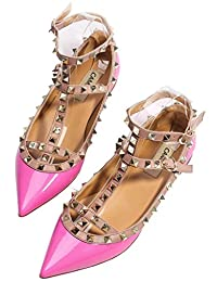Women's Metal Studs Strappy Buckle Pointy Toe Flats Comfortable Dress Pumps Shoes