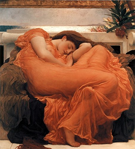 Flaming June Painting - Sir Frederic Leighton Flaming June 1895 Oil Painting Woman Sleeping Oleander Branch Poster 12x18 inch