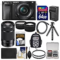 Sony Alpha A6000 Wi-Fi Digital Camera & 16-50mm Lens with 55-210mm Lens + 64GB Card + Backpack + Battery/Charger + Tripod + Kit from Sony