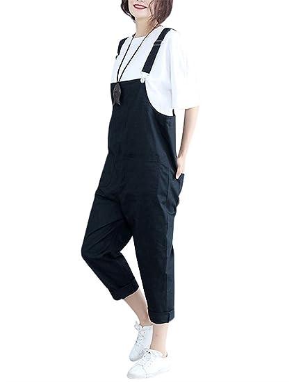 21b524c5f7ab QINGFANG - Salopette - Femme 38 - Noir - 38  Amazon.fr  Vêtements et ...