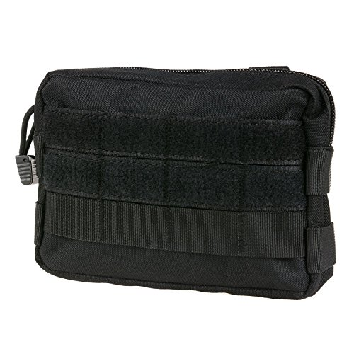 MOLLE Pouches - Compact Water-resistant Multi-purpose Tactical EDC Utility Gadget Gear Hanging waist Bags(Horizontal rectangle Pouch ,Black ) (Molle Utility Pouch)