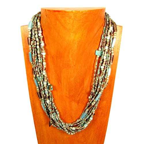 22 Multi Strand Glass Beaded Turquoise/Silver Color Handmade Necklace Bali Bay Trading Co
