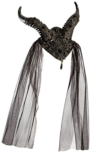 Forum Novelties Demon Horns Fascinator Hair Clip with Lace and Gemstones, Multicolor (Demons Horn)