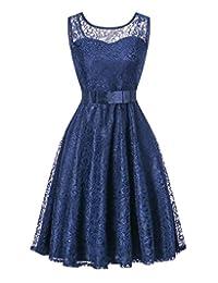 Tecrio Women's Sleeveless Scoop Neck Floral Lace Vintage Bridesmaid Party Dress