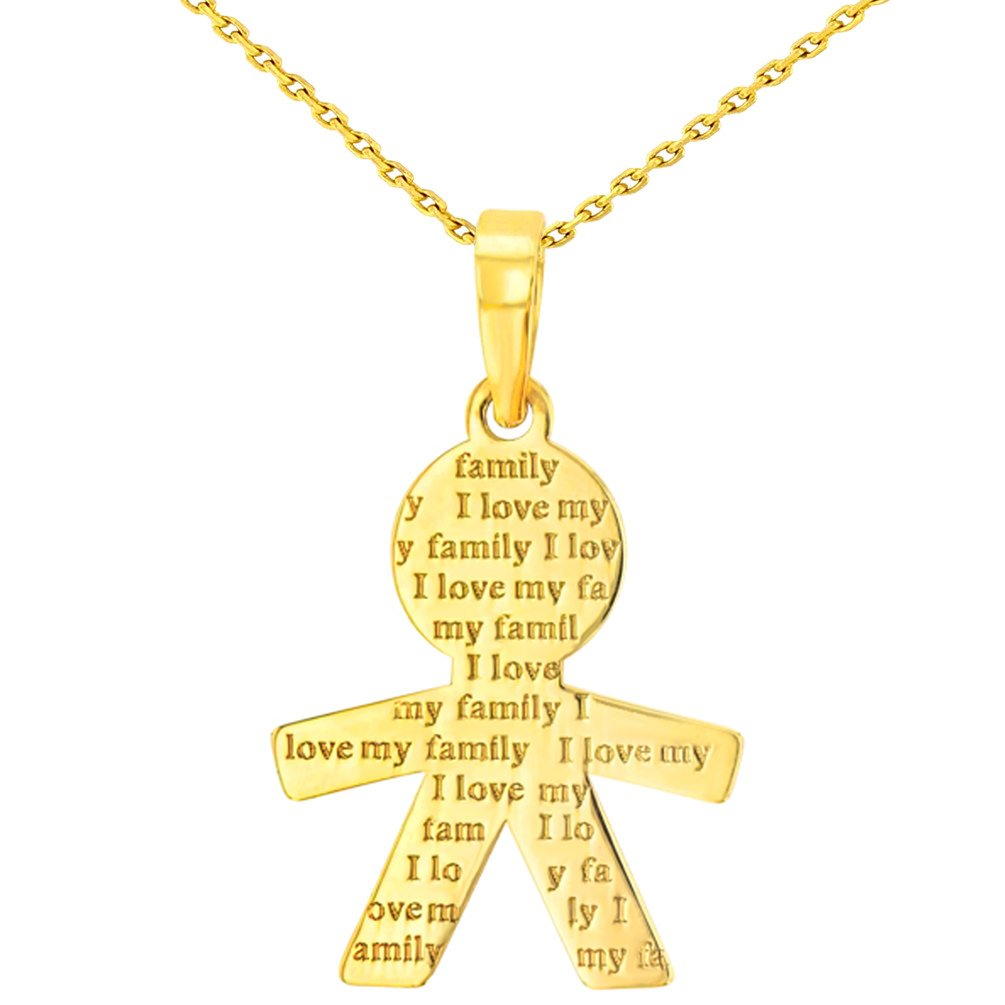 14K Yellow Gold Little Boy Charm with I Love My Family Engraved Script Pendant Necklace, 16''