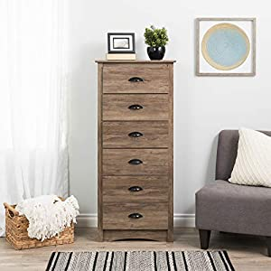 Prepac Salt Spring 6-Drawer Tall Chest, Drifted Gray