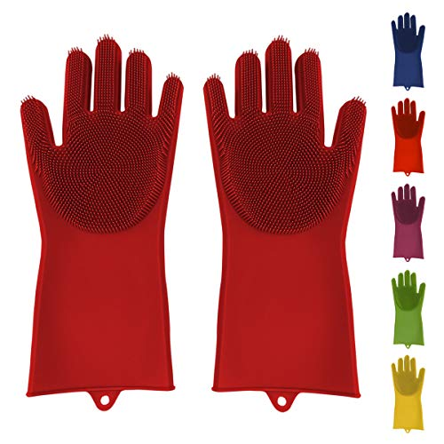 Silicone Dish Scrubber Gloves Reusable Heat Resistant for Dish Washing Cleaning Kitchen Bathroom Car Washing Large Non-Latex Sponge Gloves in Trendy Colors (Red)