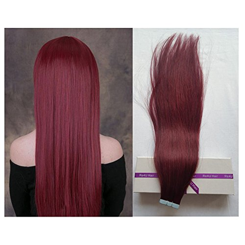"""Beauty : Tape in Real Remy Hair Extensions, Re4U 20"""" Burgundy Wine Color Adhensive Glue in Thick Hair Extensions Human Hair (50g 20pcs Per Package #99J)"""