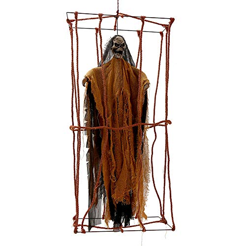 Hootech 35 Inch Hanging Halloween Decorations Animated Halloween Props Scary Voice Control Hanging Ghost Realistic Skeleton with Lighted Eyes for Yard Outdoor Indoor Party ()