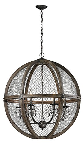Aged Wood/Bronze / Clear Crystal Renaissance 3 Light 1 Tier Globe ()