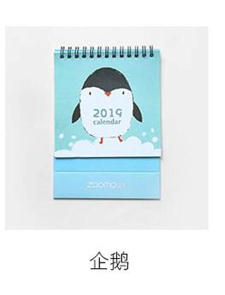 8 estilos 2019 año bonito Kawaii Cactus pingüino gato cerdo Mini calendario de mesa escritorio calendario