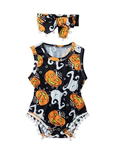 Funnycokid My First Halloween Cute Pumpkin Baby Girl Playsuit + Headband -