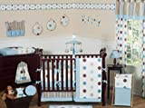 Sweet Jojo Designs Contemporary Blue and Brown Modern Polka Dot Boy or Girl Unisex Gender Neutral Baby Bedding 9pc Crib Set Reviews