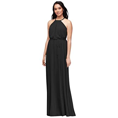 adef711e04ae Soft Mesh Halter Bridesmaid Dress with Slim Sash Style F19533, Black, 0
