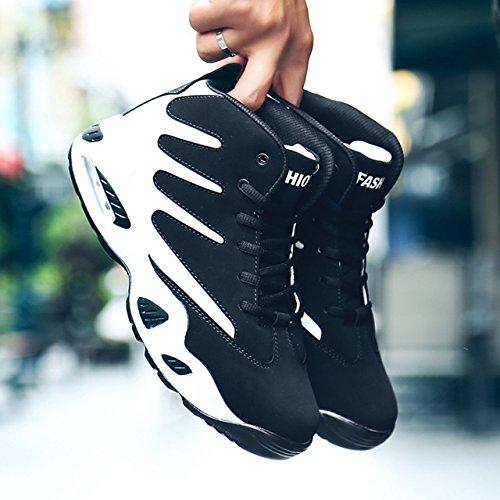 [モノリリ] ハイカット 白黒 滑らない 靴 ジム シューズ メンズ スニーカー 3色展開(黒、赤、青)