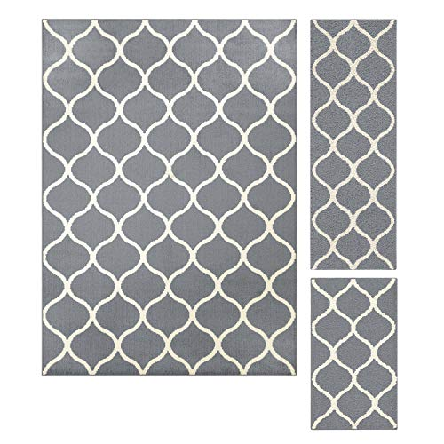 Maples Rugs Area Rugs Sets - Rebecca [3pc Set] Non Slip Large Carpet Runner Rug [Made in USA] for Living Room and Kitchen, Rugs Set, Grey/White