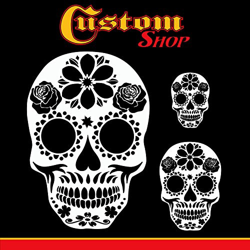 Custom Shop Airbrush Sugar Skull Day Of The Dead Stencil Set (Skull Design #14 in 3 Scale Sizes) - Laser Cut Reusable Templates - Custom Airbrush Helmets