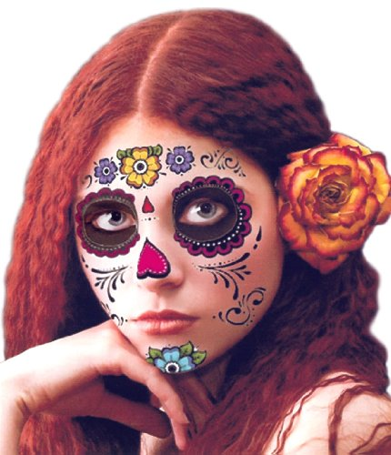 Floral Day of the Dead Sugar Skull Temporary