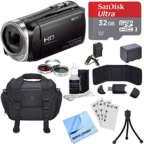 Sony HDR-CX455/B Full HD Handycam Camcorder Deluxe Bundle includes HDR-CX455/B Handycam, Deluxe Filter Kit, Battery, 32GB MicroSDHC Memory Card, Card Reader, Mini Tripod, Beach Camera Cloth and More!