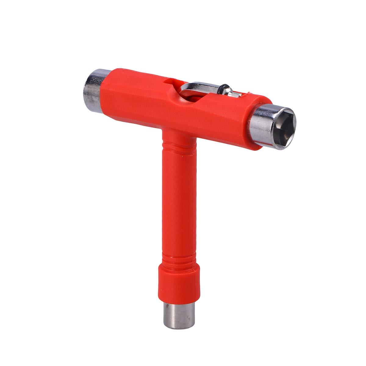 Clispeed Mini T Tipo Wrench Tool Roller Skateboard Repair Tool strumento di regolazione con L L tipo cacciavite (rosso)
