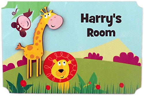 (Rikki Knight Harry's Room - 3D Giraffe on Jungle - Door Sign Plaque with Name for Children and Baby's Bedroom)
