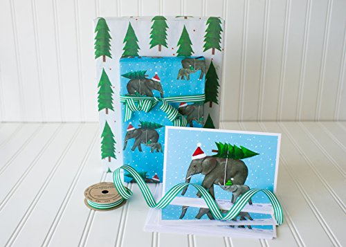 Christmas Mini Gift Wrap Set - Reversible Wrapping Paper with Coordinating Ribbon, Gift Cards, and Gift Tags - Eco-friendly Gift Wrap by Wrappily (Elephants & Green Stripe (Eco Friendly Ribbon)