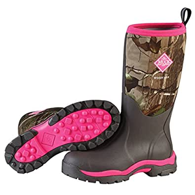 Muck Woody PK Rubber Women's Hunting Boots,Bark, Realtree XTRA/Hot Pink,5 M US