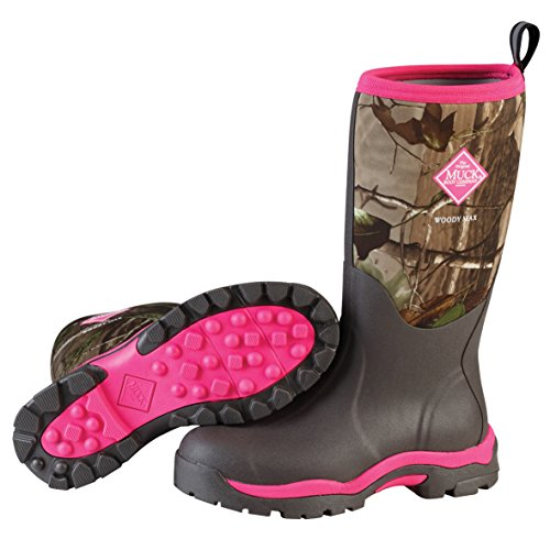 Muck Woody PK Rubber Women's Hunting Boots,Bark, Realtree XTRA/Hot Pink,8 US/8-8.5 M US