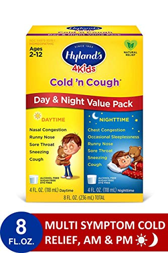 Hyland#039s Cold and Cough 4 Kids Day and Night Value Pack Cough Syrup Medicine for Kids Decongestant Sore Throat Relief Natural Treatment for Common Cold Symptoms 4 Fl Oz Each
