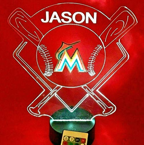 Miami Beautiful Handmade Acrylic Personalized Marlins MLB Baseball Light Up Light Lamp LED Lamp, Our Newest Feature - It's WOW, With Remote, 16 Color Options, Dimmer, Free Engraved, Great Gift