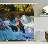 Natural Waterfall Decor Shower Curtain Set By Ambesonne, Image Of Large Bear By A Rock in Alaska Waterfall Wildlife in Earth Art Print, Bathroom Accessories, 69W X 70L Inches, Multi