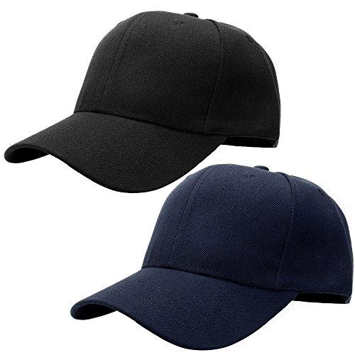(Falari Baseball Cap Adjustable Size Solid Color G001-01-Black & 02-Navy)