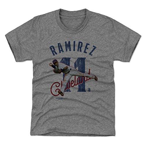 500 LEVEL Cleveland Baseball Youth Shirt - Kids Medium (8Y) Tri Gray - Jose Ramirez Arch (Cleveland Indians Arch)