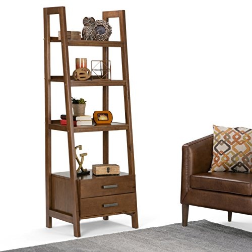 Kitchen Ladder Shelf: Simpli Home Sawhorse Solid Wood Ladder Shelf Bookcase With