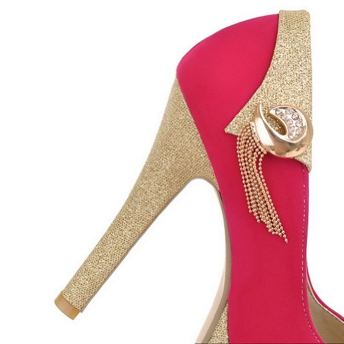 VogueZone009 Womens Closed Round Toe High Heel Stiletto Platform Suede Frosted PU Pumps with Metalornament, Red, 5 UK