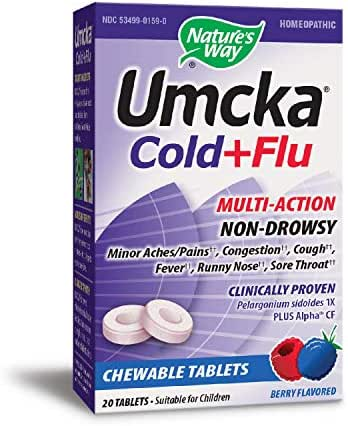 Nature's Way Umcka Cold+Flu Multi-Action Non-Drowsy, Berry Flavored, 20 Chewables