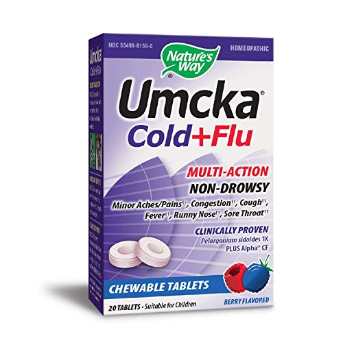 Nature's Way Umcka Cold and Flu Chewable, Berry, 20 Count