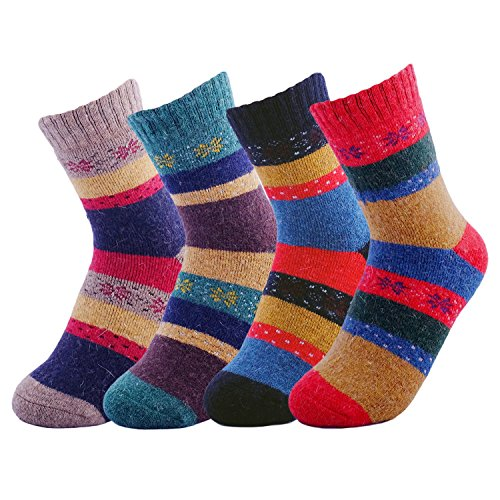 (JOYCA & Co. 3-5 Pairs Womens Multicolor Fashion Warm Wool Cotton Thick Winter Crew Socks (Snowflake))