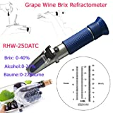 Sinotech 3 in 1 Hand Held Grape &Alcohol Refractometer Rhw-25datc 0-40% Brix 0-25%vol 0-22baume Blue Grip