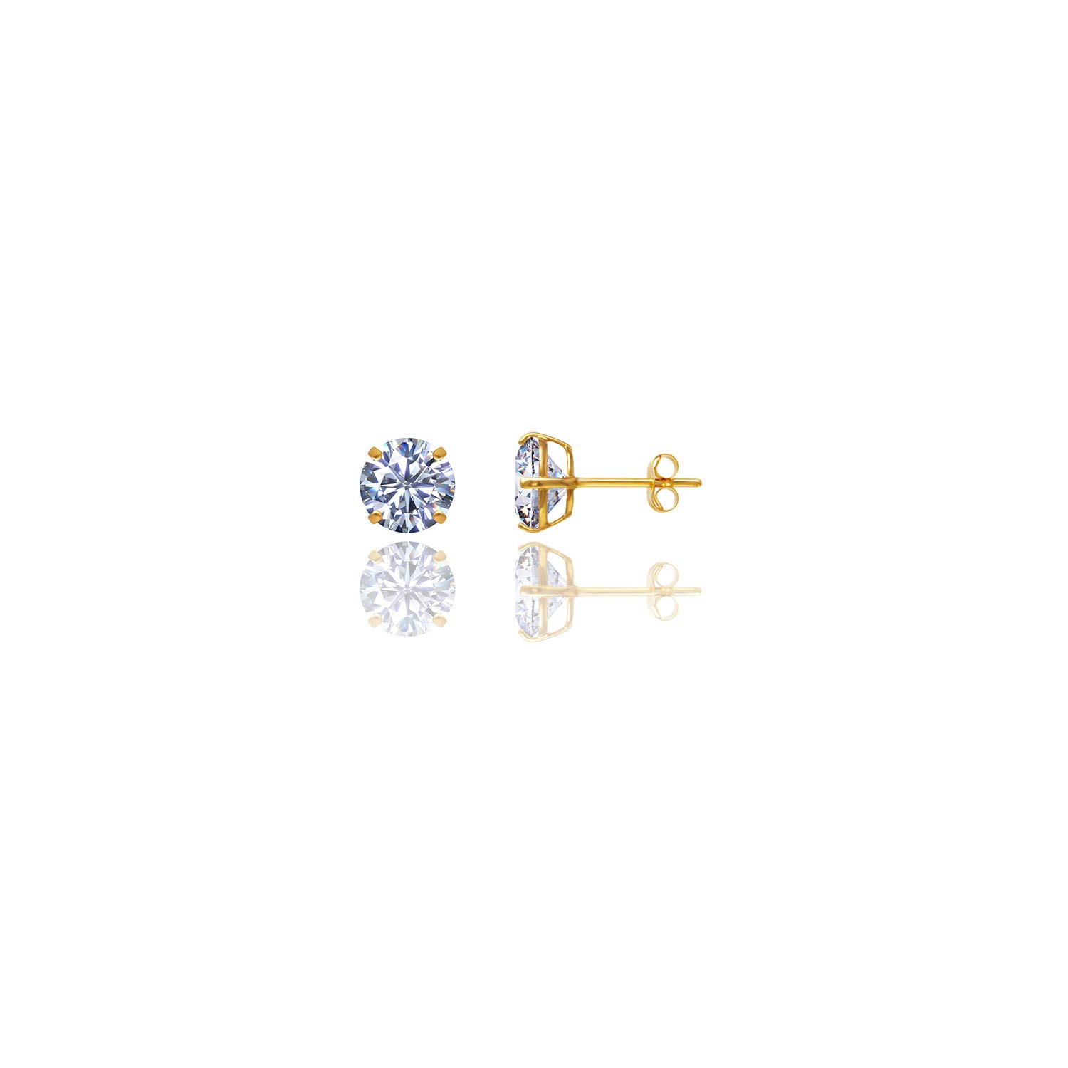 14kt Solid Yellow Gold Super Bright Clear Cz Basket Round Butterfly Pushback Stud Earrings