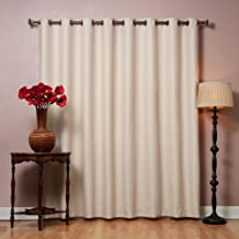"Best Home Fashion Wide Width Thermal Insulated Blackout Curtain - Antique Bronze Grommet Top - Beige - 100""W x 96""L - Tie back included (1 Panel)"