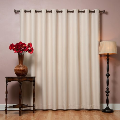 """Best Home Fashion Wide Width Thermal Insulated Blackout Curtain - Antique Bronze Grommet Top - Beige - 100""""W x 84""""L - (1 Panel)"""