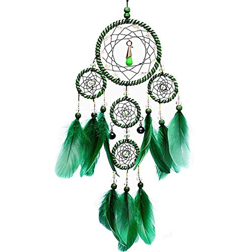 Dremisland Dreamcatcher Green Handmade Dream Catcher Net with Five Circle Wall Hanging Decoration Ornament (Green)