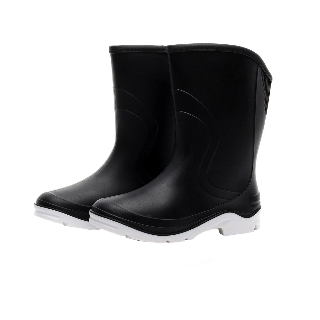 Kontai Women Half Calf Ankle Rubber Rainboots 2 Color Waterproof Boots for Garden Rain Round Toe Rainboots Size 7