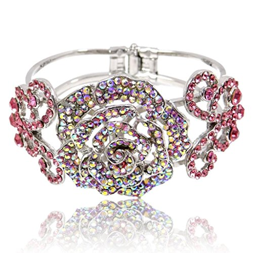EVER FAITH Austrian Crystal Wedding Rose Flower Butterfly Bangle Bracelet Pink - Cuff Crystal Bracelet Austrian