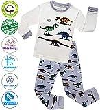 MOGGEI Boys Pajamas Clothes Sleepwear 100% Cotton PJS for Toddlers Kids Children Dinosaur Style (White (Dinosaur), 3T)