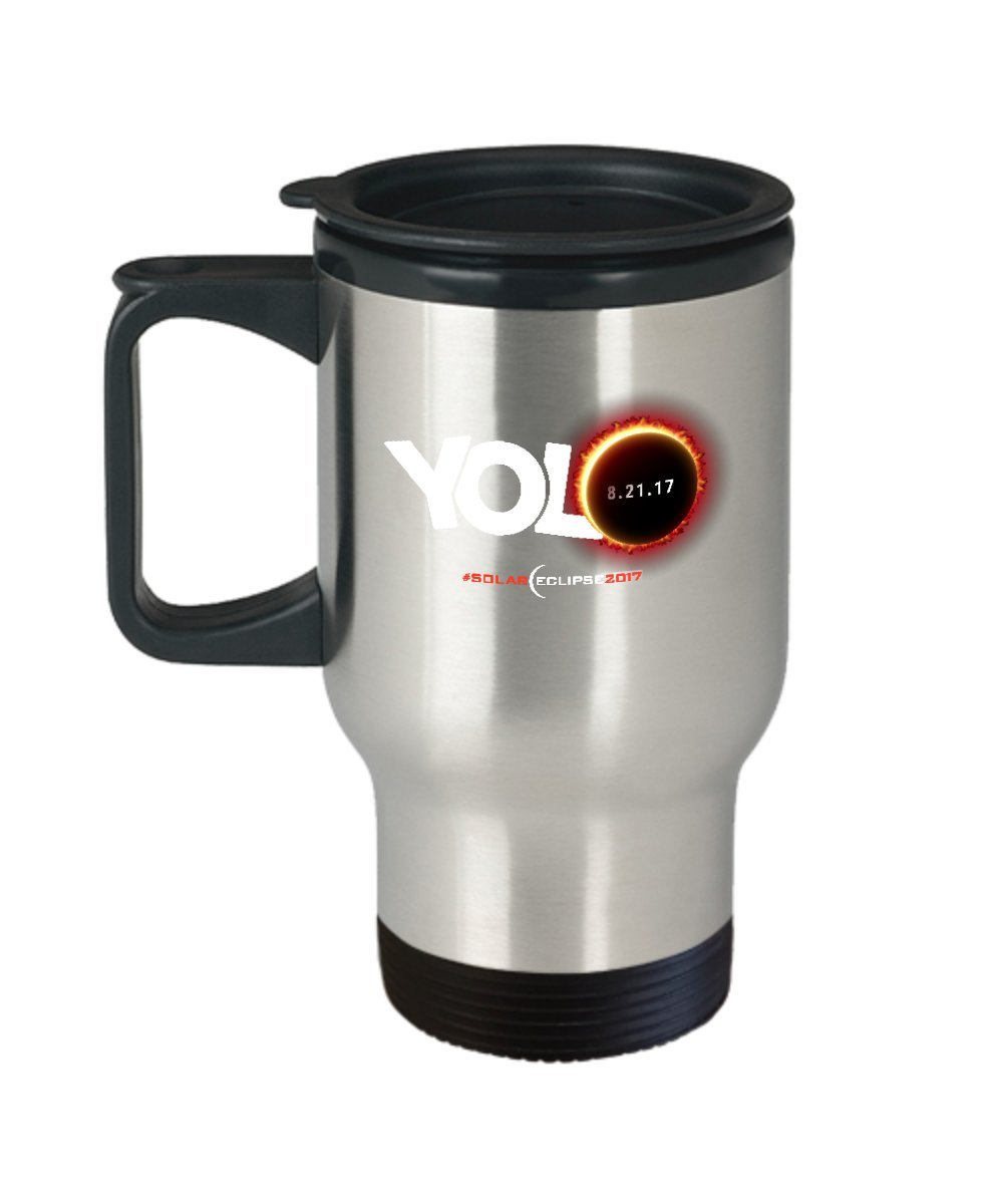 Solar Eclipse Travel Coffee Mug - Cool 14oz Stainless Steel Tea Cup With Lid. August 21 2017 Souvenir USA Eclipse. Science & Astronomy Astrology Gifts.